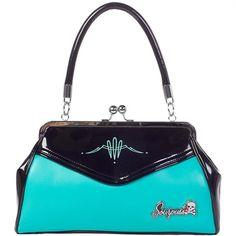 Image of Sourpuss Pinstripe Backseat Handbag Purse Retro Rockabilly Pin Up Vintage Bag