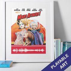 Mars Attacks Movie Poster Playable Soundwave Art Print - A3 / No frame