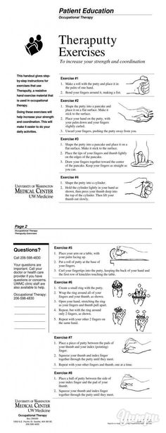 Theraputty Exercises - UWMC Health On-Line - University of .-Theraputty Exercises - UWMC Health On-Line - University of . Geriatric Occupational Therapy, Occupational Therapy Assistant, Occupational Therapy Activities, Physical Activities, Motor Activities, Stroke Therapy, Ot Therapy, Physical Therapy, Therapy Putty