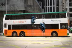 Ad of a window cleaning on a bus