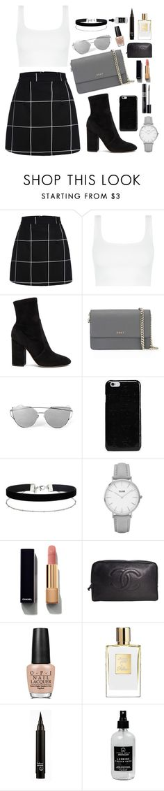 """""""Minimalistic"""" by thestylecloset1 ❤ liked on Polyvore featuring WithChic, Valentino, DKNY, Maison Margiela, Miss Selfridge, Topshop, Christian Dior, Chanel, OPI and Little Barn Apothecary"""