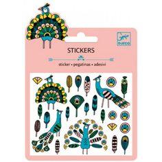 DJECO mini stickers folie veren en pauwen