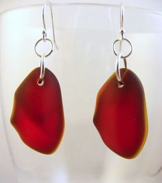 Dangle Hook Rare Ruby Red Recycled Sea Glass Earrings Sterling Silver Ear Wires Free Shipping
