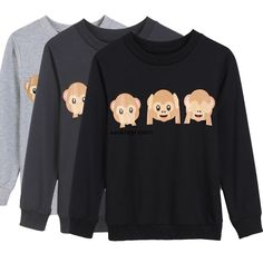 Hoodie Sweatshirt Long Sleeve 3D Emoji Print Women T-Shirt Outerwear Hot Wn