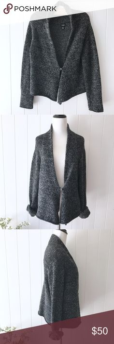 """Eileen Fisher Single Button Cardigan Cozy long sleeve cardigan with a single button by Eileen Fisher. Fits true to size M. Grey/black color. Gently worn condition. No rips, holes or stains. 40% Wool, 26% Viscose, 20% Nylon, 10% Cashmere, 4% Angora Rabbit Hair. Approx. measurements: 40"""" Bust, 20"""" Length, 17"""" Shoulders, 26"""" Sleeves, 18"""" Length in Back. No trades/holds. Reasonable offers welcome! #eileenfisher Eileen Fisher Sweaters Cardigans"""