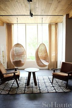 i want to hang these kind of chairs in my house..because who wouldn't love them??..and they're crazy fun