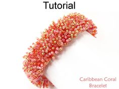 Caribbean Coral Bracelet Peyote Fringe Stitch Downloadable Beading Pattern Tutorial | Simple Bead Patterns