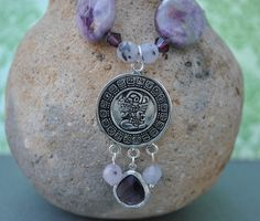 Inspired by the Mayan culture: Mayan Calendar Purple Necklace natural stones by alejandracc, $48.99