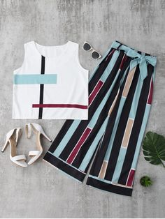 2019 Women Casual 2 Two Piece Set Women Summer Sleeveless Striped Tank Top Belted Pants Set Tees Long Pants Suit Light Blue XL Pantalon Long, Casual Outfits, Cute Outfits, Girl Fashion, Fashion Outfits, Trendy Fashion, Mode Hijab, Striped Tank Top, Stripe Top
