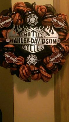 Deco mesh Harley Davidson wreath 4-2015