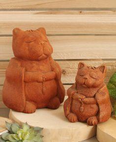 Zen Cat Rustic Garden Statue, USA