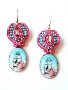 Framboise and aqua  earrings soutache jewelry   door beadsofaquarius, $54,00