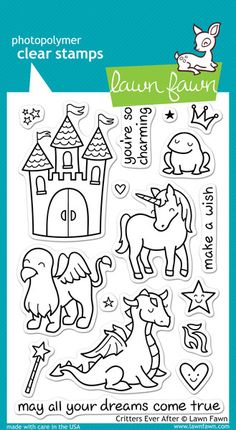 This stamp set coordinates perfectly with Critters Ever After Lawn Cuts custom craft dies.