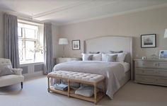 Master Bedroom Ideas for Couples on a Budget -Traditional grey bedroom by Sims Hilditch Farmhouse Master Bedroom, Gray Bedroom, Master Bedroom Design, Home Bedroom, Bedroom Furniture, Farmhouse Bench, Master Bedrooms, Trendy Bedroom, Bedroom Neutral