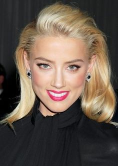 Amber Heard. blonde & hot pink!
