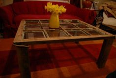 Window repurposed into coffee table