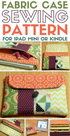 A Fabric Case Sewing Pattern for an iPad Mini or Kindle fabric case an iPad Mini or Kindle Case. This pattern fits most smaller tablets. A huge thank you Diy And Crafts Sewing, Easy Sewing Projects, Sewing Projects For Beginners, Easy Diy Crafts, Sewing Hacks, Sewing Tutorials, Diy Projects, Video Tutorials, Project Ideas