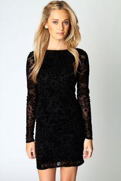 Boohoo Zoe Flock Long Sleeve Bodycon Dress