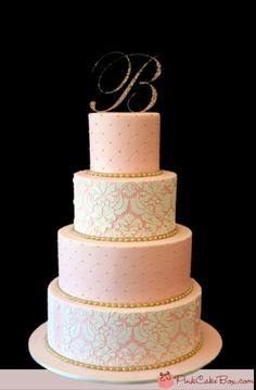 Blush gold wedding cake