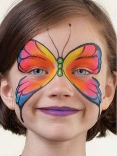 Simple face painting designs are not hard. Many people think that in order to have a great face painting creation, they have to use complex designs, rather then simple face painting designs. Girl Face Painting, Painting For Kids, Body Painting, Painting Tattoo, Butterfly Face Paint, Butterfly Makeup, Butterfly Design, Butterfly Mask, Rainbow Butterfly