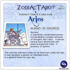 Daily tarot card for Aries from ZodiacTarot! Think tarot readings are expensive?  Think again.  You can get a free one online now!   Visit iFate.com today! And for all today's ZodiacTarot cards, check out ZodiacTarot.com !