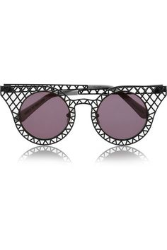 Shop now: Cagefighters round-frame latticed metal sunglasses