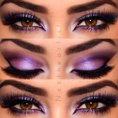 """@M∙A∙C Cosmetics purple pigments. on lid I placed """" violet"""" then did a soft cut crease using """" grape"""" and smoked it out. Highlighted in corner and brow bone using"""