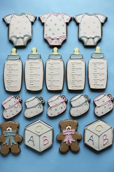 baby boy blue bottles, booties, bears, blocks and onesie cookies