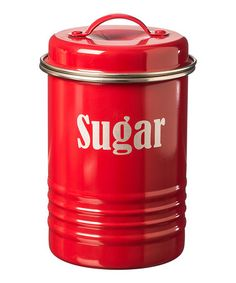 Another great find on #zulily! Red Vintage 'Sugar' Canister #zulilyfinds