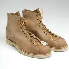 Deadstock Mens Boots 1960s Work Boots 60s Monkey Boots Tan Leather... ($500) ❤ liked on Polyvore featuring men's fashion, men's shoes, men's boots, men's work boots, mens leather lace up boots, mens lace up boots, mens leather work boots, mens boots and mens crepe sole boots