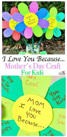 It's not hard for kids to make something Mom will love. This easy DIY I Love You Because. Mother's Day Craft Flowers helps kids voice just how much they love their Mom with a homemade gift she will cherish. It can be made at school, preschool or at home Easy Mother's Day Crafts, Mothers Day Crafts For Kids, Diy Mothers Day Gifts, Mothers Day Cards, Grandma Gifts, Diy Gifts, Craft Gifts, Homemade Gift For Grandma, Flower Crafts