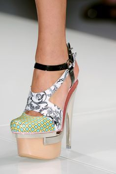 Versace patchwork sky-high platforms. #drooling I will leave these to the young people to wear.  If I tipped over while wearing these I know I would break something.