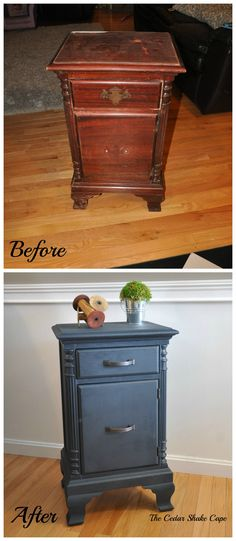 "Nightstand makeover using Miss Mustard Seed's ""Artissimo"" Milk Paint with a hemp oil finish! Paint Furniture, Furniture Projects, Furniture Makeover, Diy Projects, Before And After Diy, Decoupage, Milk Paint, Furniture Restoration, Repurposed Furniture"