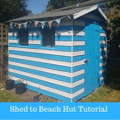 Turning our battered old shed into a Beach Hut with Valspar - Emmy's Mummy Seaside Garden, Seaside Beach, Things To Do At Home, Do It Yourself Home, Backyard Pool Designs, Patio Design, Garden Design, Beach Hut Shed, Beach Huts