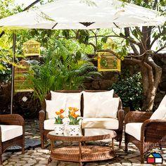 Juego #terraza Portafolio de ratán PE #jardin