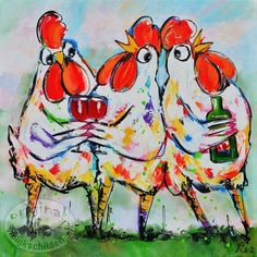 Buldog - www. Rooster Painting, Rooster Art, Chicken Painting, Chicken Art, Watercolor Cards, Watercolor Paintings, Shadow Painting, Chickens And Roosters, Colorful Animals