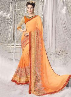Buy Renowned Orange Patch Border Work Brasso Half N Half Designer Saree #sarees #saree #sari #designersaree #sareebuzzlove #sareebuzz #weddingsarees #weddingfashion