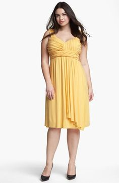 Kische Gathered Front Drape Jersey Dress (Plus Size) available at #Nordstrom