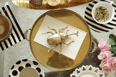 Table Stying, gold beetle, pink roses, black and white stripes, polka dots {Manor: Simply Smashing Home Decor}