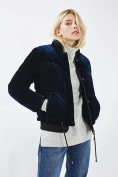 Velvet Puffer Jacket - Clothing- Topshop USA