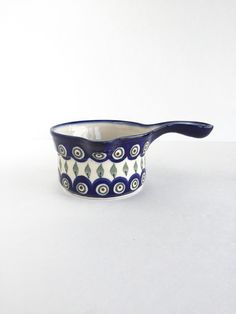 Vintage Boleslawiec Polish Pottery Peacock by SandHollowVintage