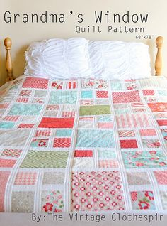 Grandma's Window Quilt Pattern / PDF by TheVintageClothespin on Etsy https://www.etsy.com/listing/108147015/grandmas-window-quilt-pattern-pdf
