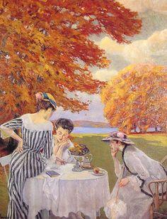 Tea in the Park by Edward Cucuel (1875-1954)