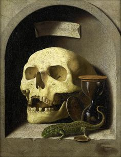 German School, circa A skull, a lizard, coins and an hourglass in a painted stone niche, oil on canvas Danse Macabre, Memento Mori Art, Crane, Oil On Canvas, Canvas Art, Vanitas Vanitatum, Dark Fairytale, Art Ancien, Renaissance