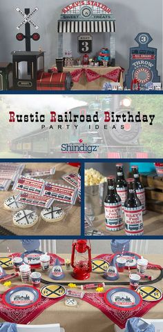 All aboard for a fun train-themed birthday party! Our new Rustic Railroad birthday party theme is perfect for celebrating your birthday engineer! Browse the entire collection for personalized favors, tablewares, and fun train cutouts!