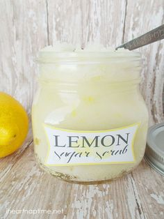 Lemon sugar scrub - coconut oil, lemon & sugar. SO simple, combo of the citric acid (chemical exfoliation) & sugar (physical exfoliation) PLUS coconut oil, works amazing to slough off any dry skin, leaving it amazingly soft & fresh.
