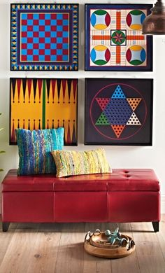 Hang them as graphic art on the wall. Or actually play the iconic board games. Select Chess/Checkers, Backgammon, Parcheesi, or Chinese Checkers. Board Game Pieces, Board Games, Game Boards, Game Room Decor, Wall Decor, Wall Art, Game Rooms, Bedroom Decor, Board Game Storage