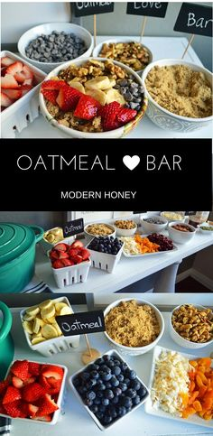 Oatmeal Bar with all of the topping ideas. List of the best oatmeal combination ideas. It's the perfect party brunch idea or a lazy Sunday breakfast. Gluten and dairy free alternatives.