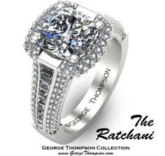 Beautiful square diamond ring with geometric, cascading diamond band.