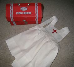 Vintage Toy Nurse Kit AMSCO Kidd E Nurse Homemade Nurse's Apron
